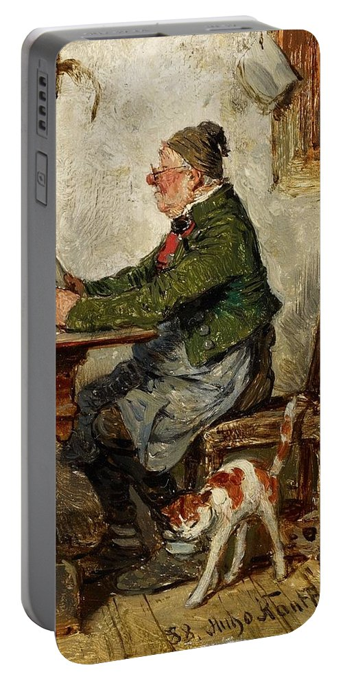 Hugo Kauffmann Portable Battery Charger featuring the painting Innkeeper With A Cat by MotionAge Designs
