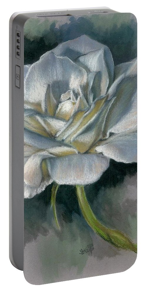 Rose Portable Battery Charger featuring the mixed media Innocence by Barbara Keith