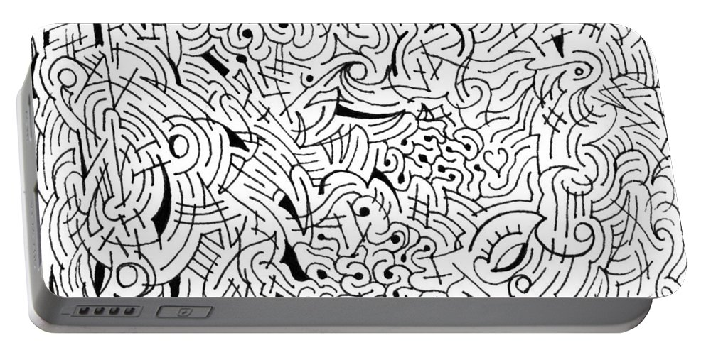 Mazes Portable Battery Charger featuring the drawing Inscrutable by Steven Natanson