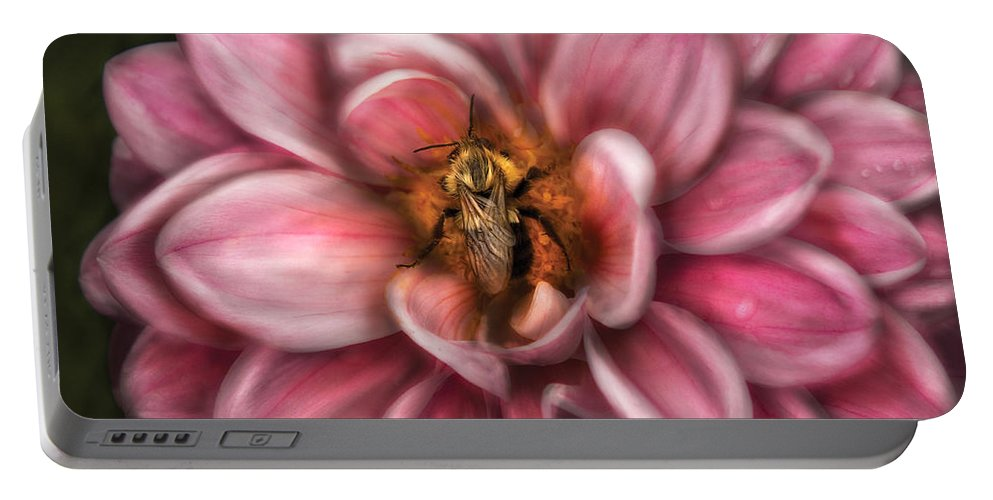 Savad Portable Battery Charger featuring the photograph Insect - Bee - Center Of The Universe by Mike Savad