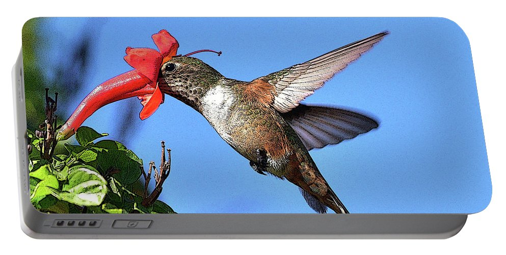 Linda Brody Portable Battery Charger featuring the photograph Inside The Flower Posterized by Linda Brody