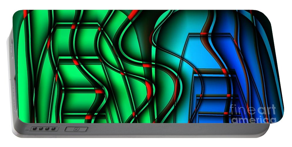 Abstract Portable Battery Charger featuring the digital art Inside The Toaster by Ron Bissett