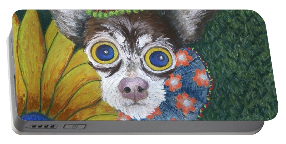 Chihuahua Portable Battery Charger featuring the painting Inside Van Gogh's Garden Sits Sunflower Sally by Minaz Jantz