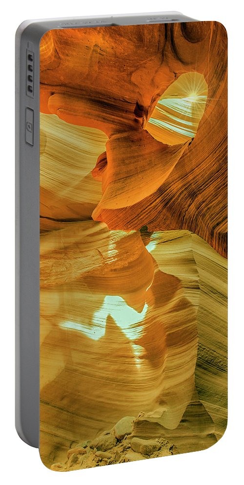 Antelope Canyon Portable Battery Charger featuring the photograph Insignificance Of Man by Gabriel Jardim