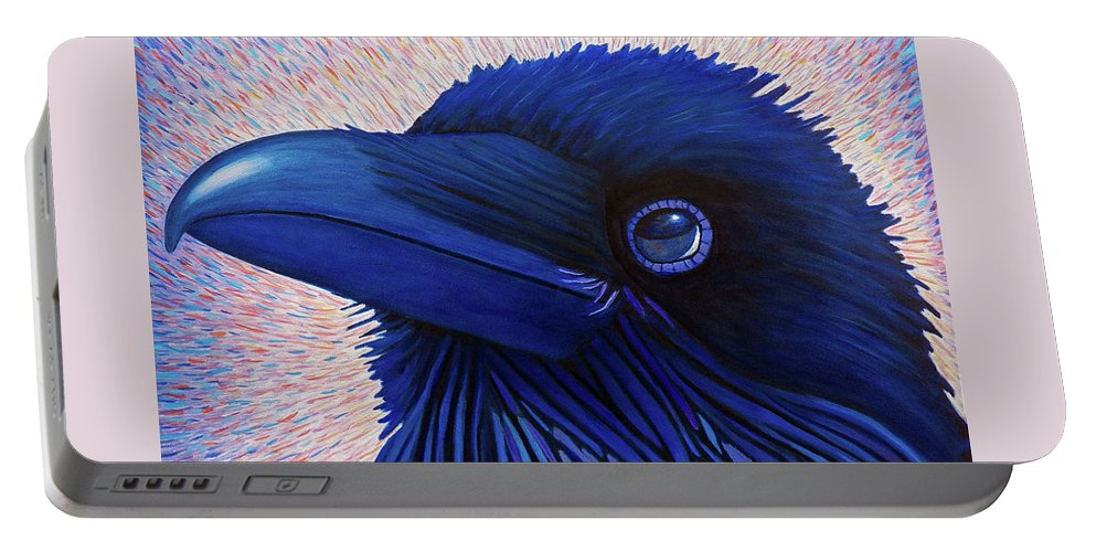 Raven Portable Battery Charger featuring the painting Inspiration by Brian Commerford