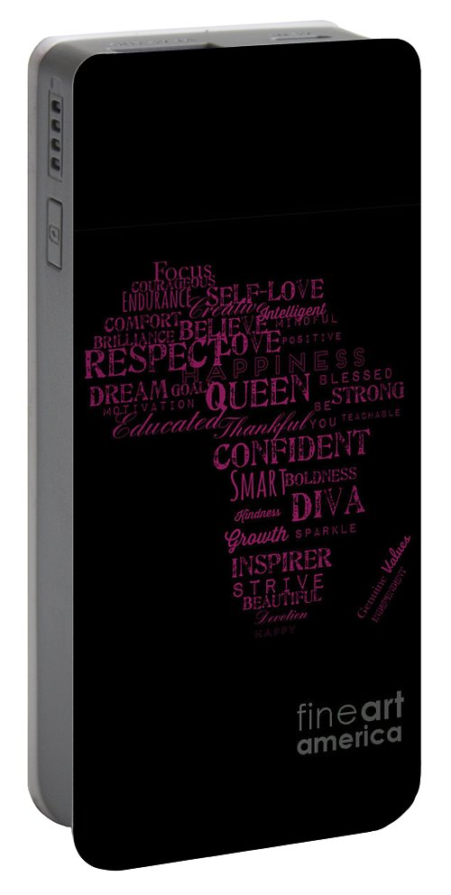 Black Art Portable Battery Charger featuring the mixed media Inspirational African American Girl by Fabulous Black Woman Be Inspired