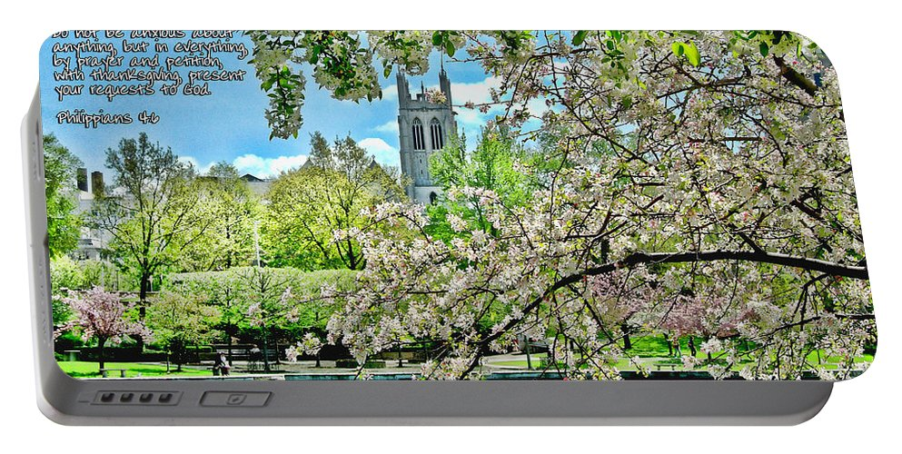Cherry Blossoms Portable Battery Charger featuring the photograph Inspirational - Cherry Blossoms by Mark Madere