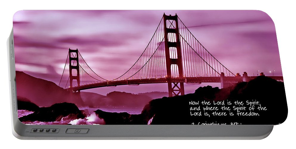 Golden Gate Bridge Portable Battery Charger featuring the photograph Inspirational - Nightfall At The Golden Gate by Mark Madere