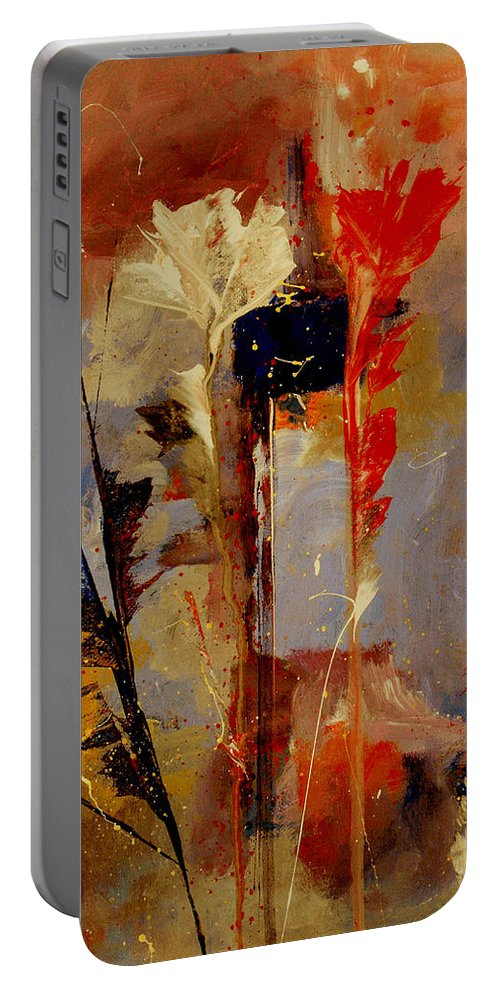Abstract Botanical Floral Flowers Color Red Pink Blue White Yellow Orange Purple Portable Battery Charger featuring the painting Inspire Me by Ruth Palmer