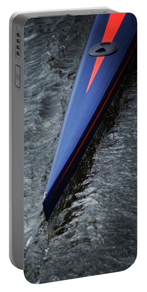 Boat Portable Battery Charger featuring the photograph Blue Scull at the Regatta by Jason Freedman