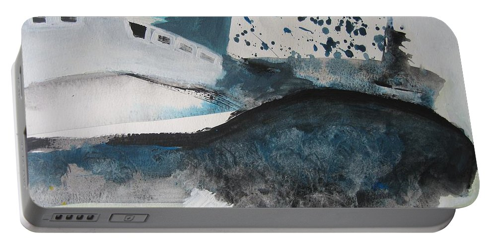 Abstract Paintings Portable Battery Charger featuring the painting Instead Of Explanation by Seon-Jeong Kim