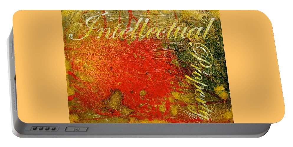 Abstract Art Portable Battery Charger featuring the painting Intellectual Property by Laura Pierre-Louis