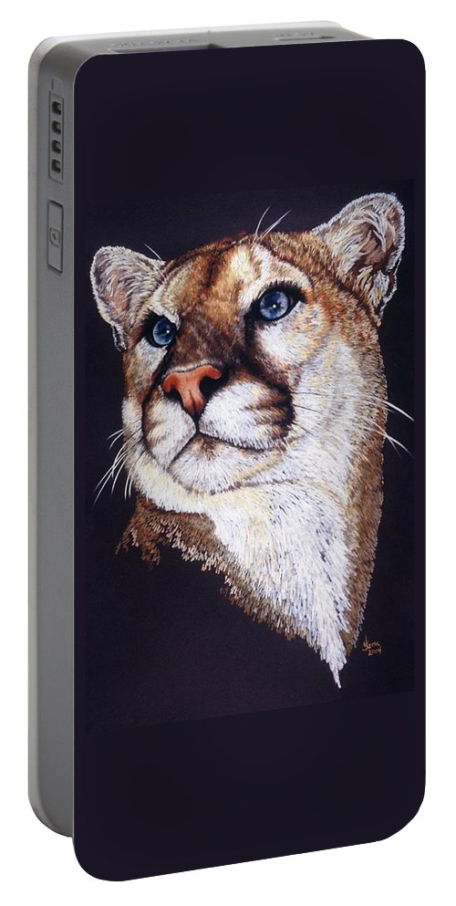 Cougar Portable Battery Charger featuring the drawing Intense by Barbara Keith