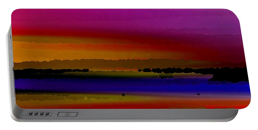 Abstract Portable Battery Charger featuring the digital art Intensely Hued by Ruth Palmer