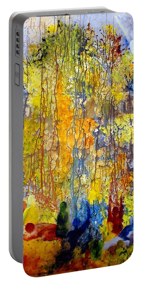Abstract Portable Battery Charger featuring the painting Intercessory Prayers by Ruth Palmer