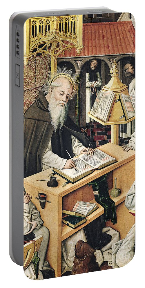 Monastery Portable Battery Charger featuring the painting Interior Of A Scriptorium by Spanish School