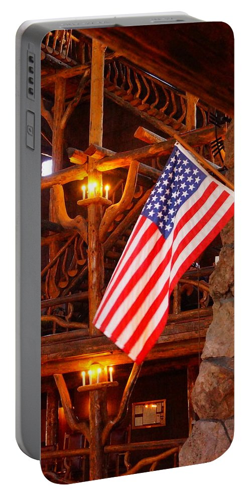 American Flag Portable Battery Charger featuring the photograph Interior Of Old Faithful Inn by Beth Collins