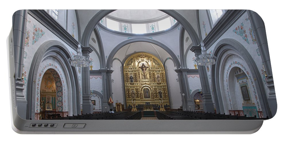 Architecture Portable Battery Charger featuring the photograph Interior San Juan Capistrano by Bob Christopher