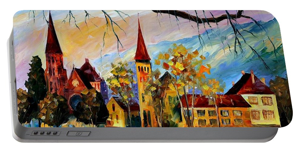 Afremov Portable Battery Charger featuring the painting Interlaken Switzerland by Leonid Afremov