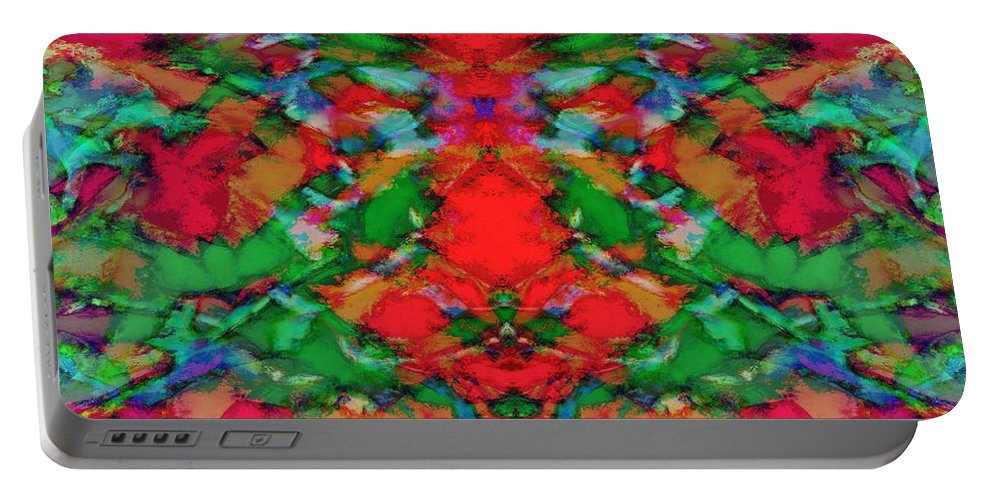 Reds Portable Battery Charger featuring the digital art Interlocking Ghosts Red by Keith Mills