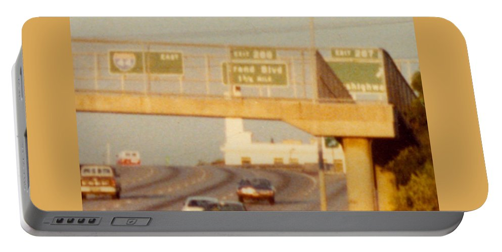 St. Louis Portable Battery Charger featuring the photograph Interstate 44 West At Exit 287, Kingshighway Exit, 1980 by Dwayne