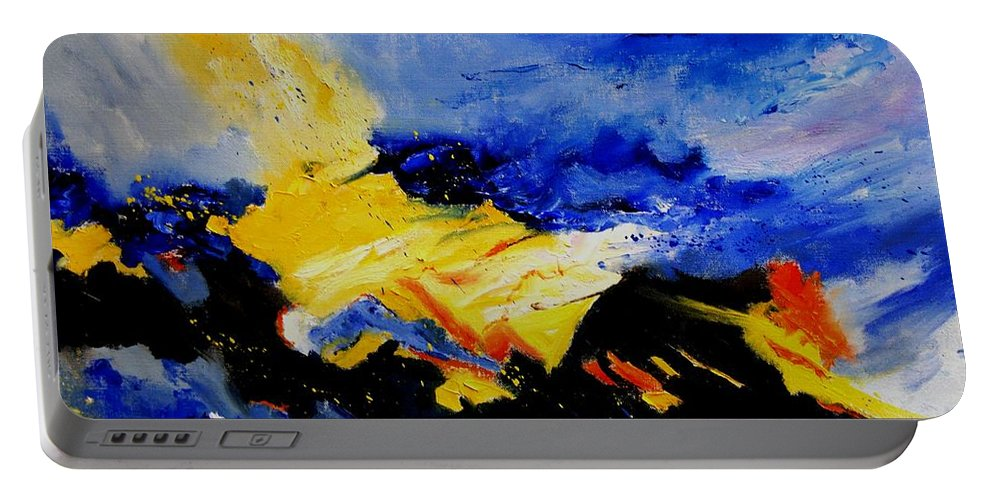 Abstract Portable Battery Charger featuring the painting Interstellar Overdrive 2 by Pol Ledent