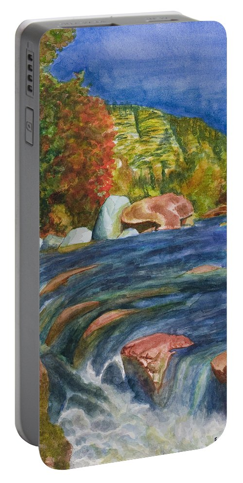 Oak Creek Portable Battery Charger featuring the painting Into Slide Rock by Eric Samuelson