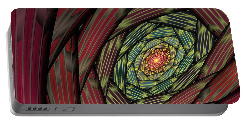 Fractal Portable Battery Charger featuring the digital art Into The Fantasy Tunnel by Deborah Benoit