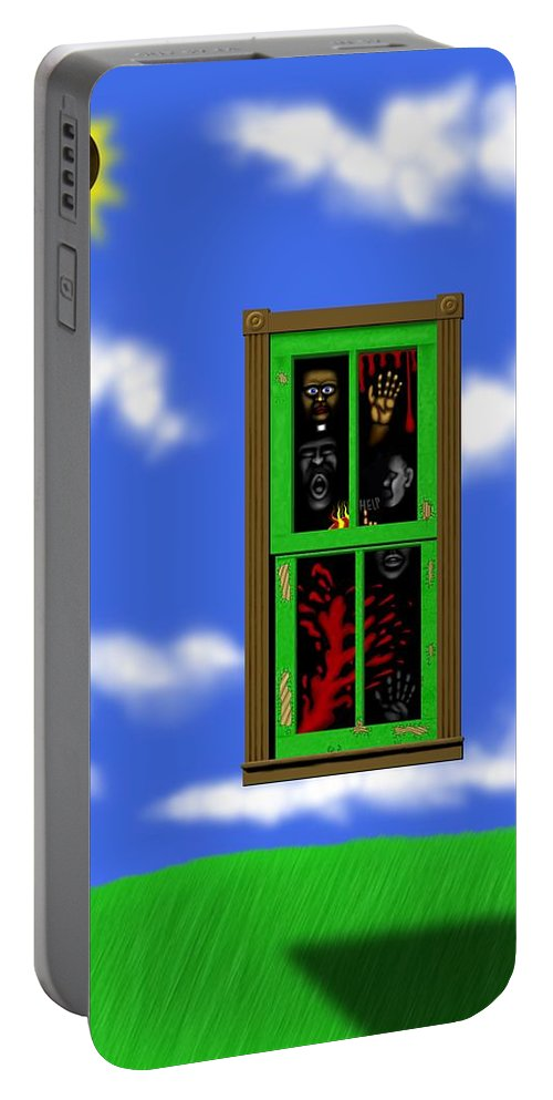 Surrealism Portable Battery Charger featuring the digital art Into The Green Window by Robert Morin