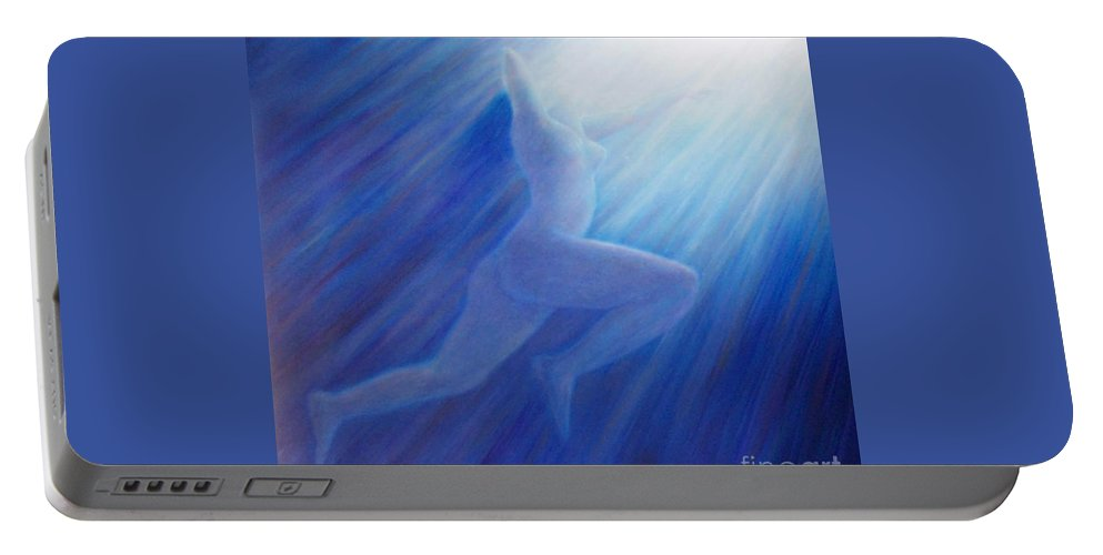Spiritual Portable Battery Charger featuring the painting Into The Light by Brian Commerford