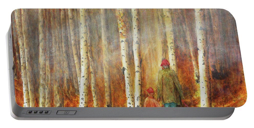 Birch Portable Battery Charger featuring the photograph Into The Misty Autmun Woods by Darrell Mcgahhey