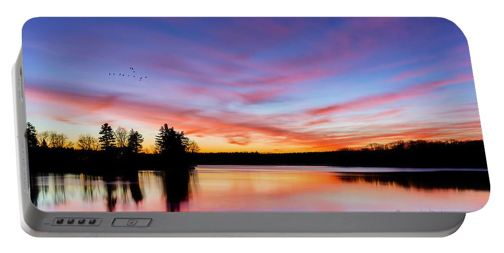Reflection Portable Battery Charger featuring the photograph Into The Morning by Bill Wakeley