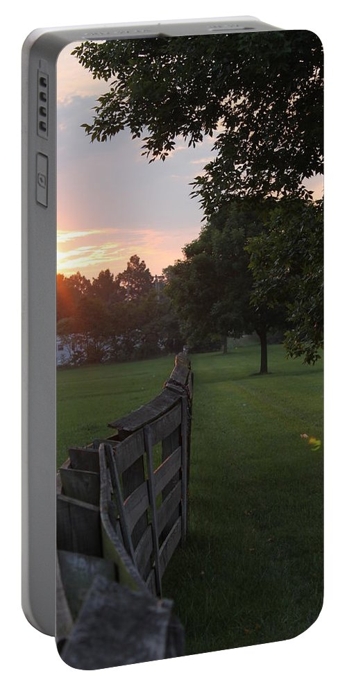 Fence Portable Battery Charger featuring the photograph Into The Sun by Lauri Novak