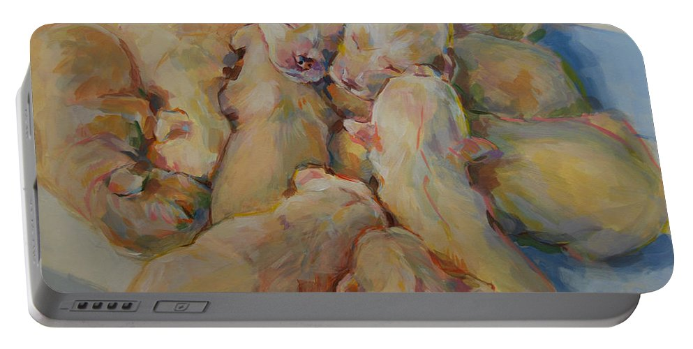 Puppies Portable Battery Charger featuring the painting Introducing The Vs by Kimberly Santini