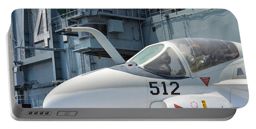Aircraft Carrier Portable Battery Charger featuring the photograph Intruder On Deck by Tommy Anderson