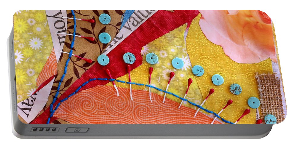 Floral Portable Battery Charger featuring the mixed media Intuition by Jennifer Fleming