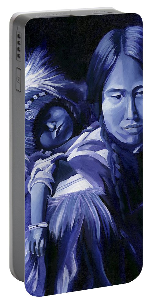 Native American Portable Battery Charger featuring the painting Inuit Mother And Child by Nancy Griswold