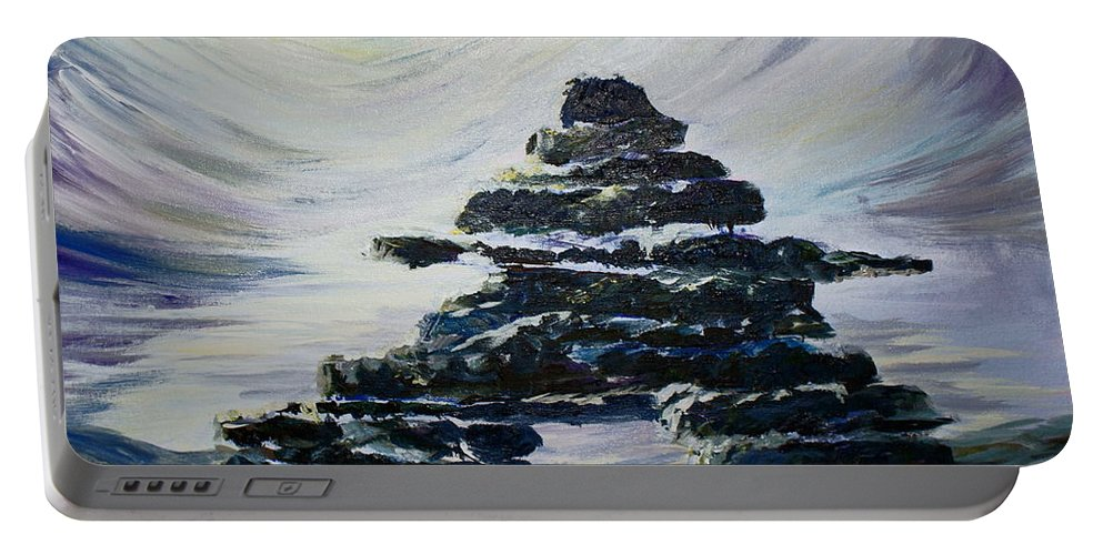 Inukshuk Northern Hemisphere Portable Battery Charger featuring the painting Inukshuk by Joanne Smoley