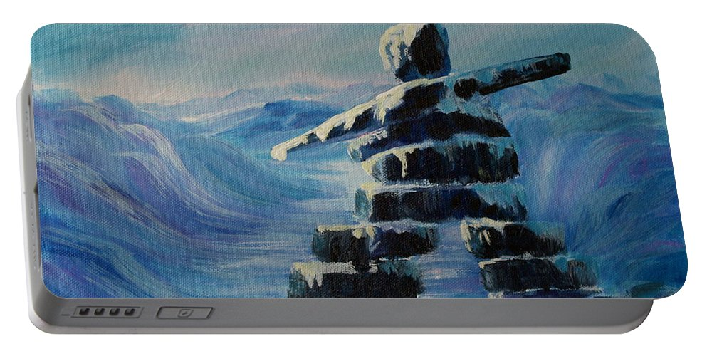 Inukshuk In Northern Canada Portable Battery Charger featuring the painting Inukshuk My Northern Compass by Joanne Smoley