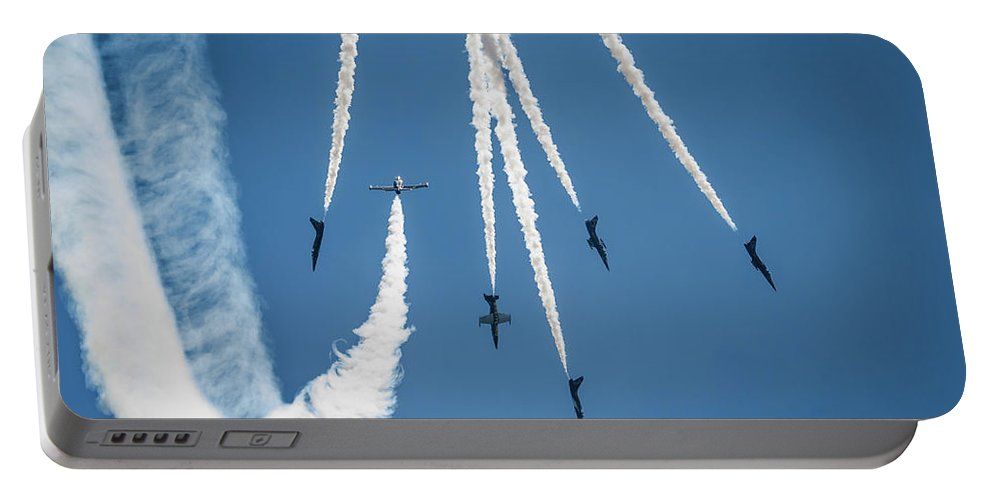 Breitling Jet Team Portable Battery Charger featuring the photograph Inverted Bomb Burst by Josh Vaughn