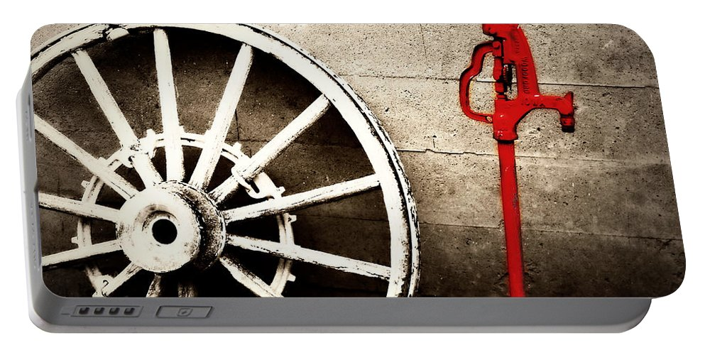 Barn Portable Battery Charger featuring the photograph Iowa Hydrant by Julie Hamilton