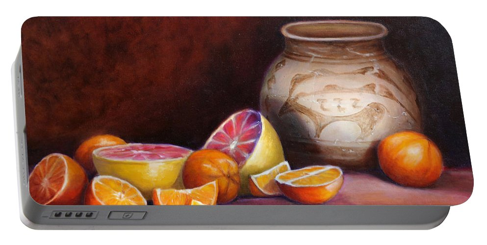 Still Life Paintings Portable Battery Charger featuring the painting Iranian Still Life by Portraits By NC