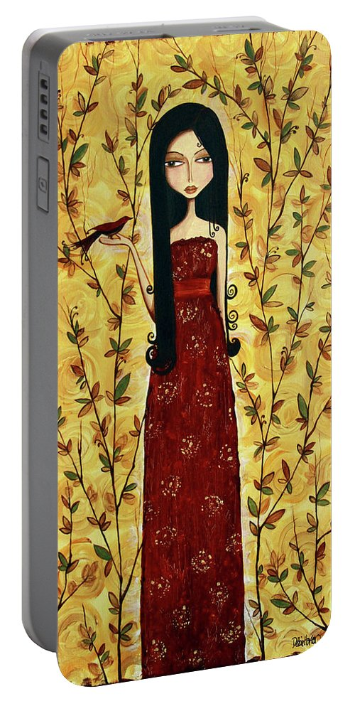 Girl Portable Battery Charger featuring the painting Iridescent Heart by Debbie Horton