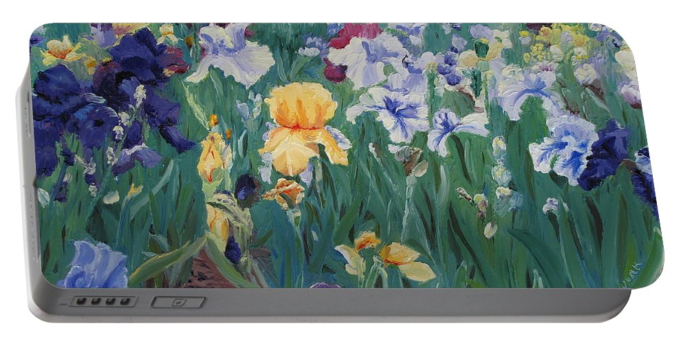 Flower Portable Battery Charger featuring the painting Iris Abun-dance by Lea Novak