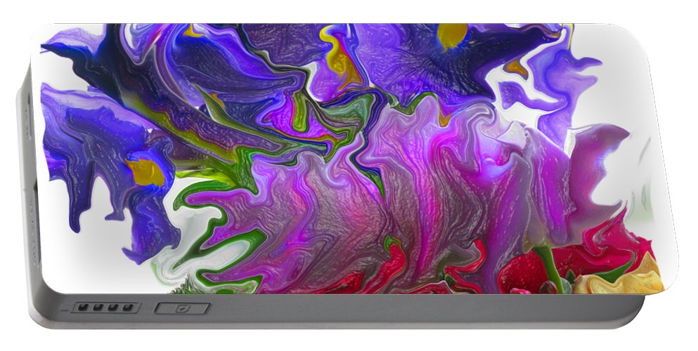 Abstract Portable Battery Charger featuring the photograph Iris And Tulip by Kathy Moll