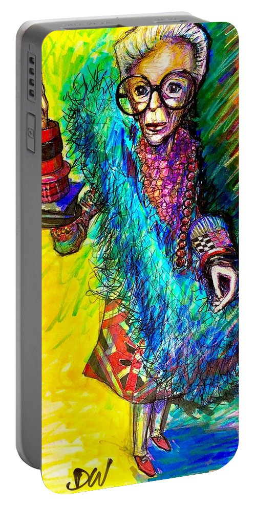 Portable Battery Charger featuring the mixed media Iris Apfel by David Weinholtz
