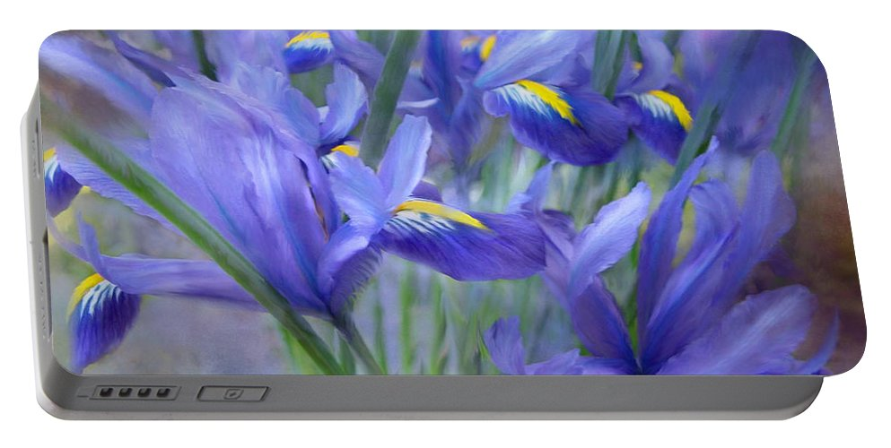 Iris Portable Battery Charger featuring the mixed media Iris Bouquet by Carol Cavalaris