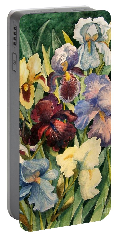 Flowers Portable Battery Charger featuring the painting Iris Collection by Marilyn Smith