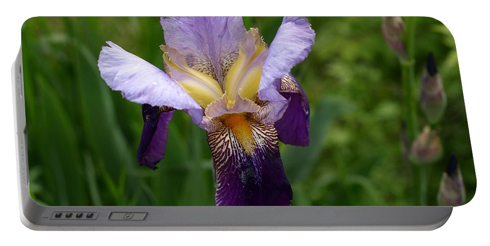 Flower Portable Battery Charger featuring the photograph Iris by DeeLon Merritt