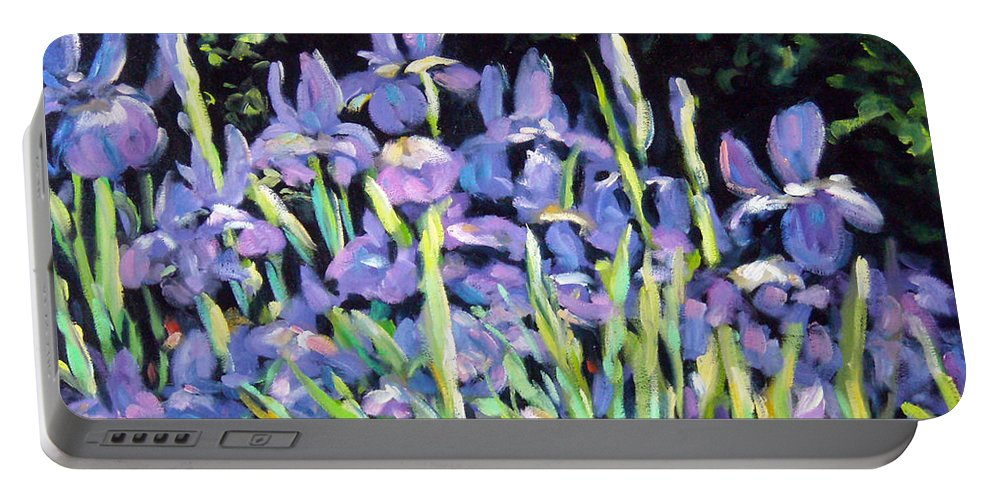 Art Portable Battery Charger featuring the painting Iris En Folie by Richard T Pranke